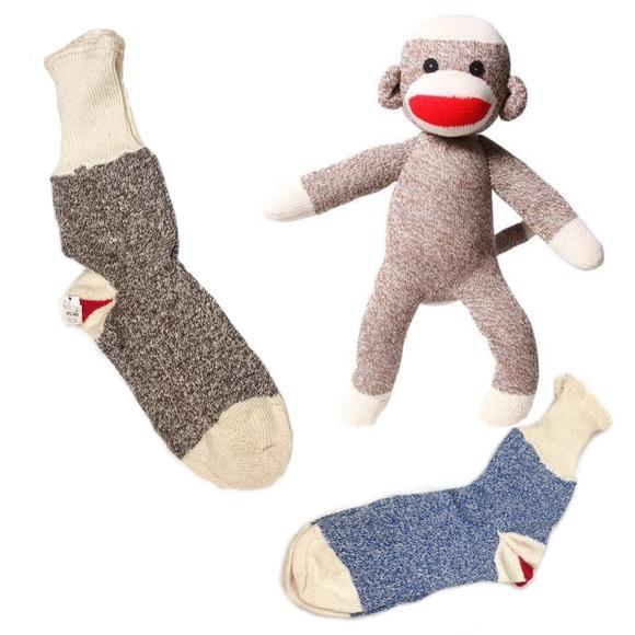 Vintage Accessories - Vintage Red Heel Sock Monkey Rockford Socks